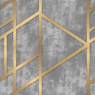 Фотообои pattern gray concrete with golden geometric lines