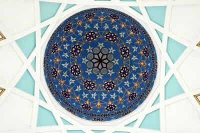 Фотообои Шаблон внутри главного купола государственной мечети Саравака. Самая большая мечеть для мусульман в штате Саравак, Восточная Малайзия. База шаблонов повторения шаблонов по исламской геометрии.