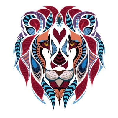 Фотообои Узором цвета головы льва. Африканский / индийский дизайн / тотем / татуировки. Он может быть использован для дизайна футболки, сумки, открытки и плакат.