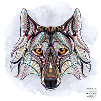 Фотообои Узором голова волка на фоне гранж. Африканский / индийский дизайн / тотем / татуировки. Он может быть использован для дизайна футболки, сумки, открытки, плакат и так далее.