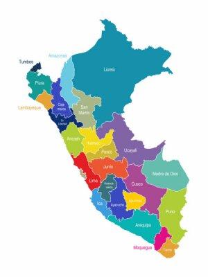 Фотообои Перу Карта регионов Вектор