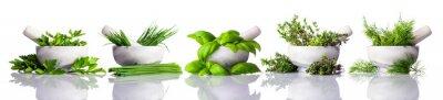 Фотообои Ступки и пестика с зелеными травами на белом фоне