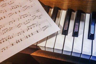 Фотообои Piano keys and sheet music