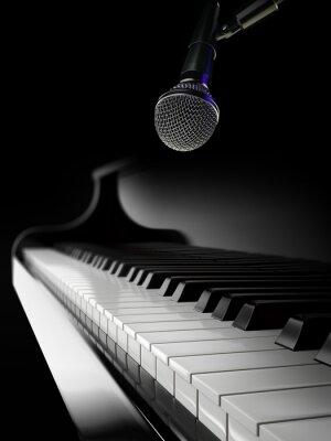 Фотообои пианино клавиши на черном пианино с микрофоном