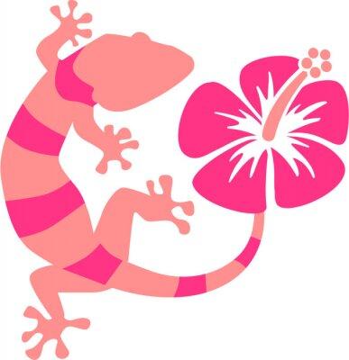 Фотообои Розовый Gecko с гибискусом