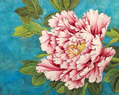 Фотообои розовый пион на синем фоне