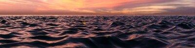 Фотообои Волны Розовый закат Панорама над океаном