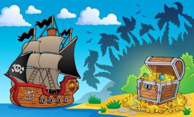 Фотообои Пиратская тема с сокровищница 1