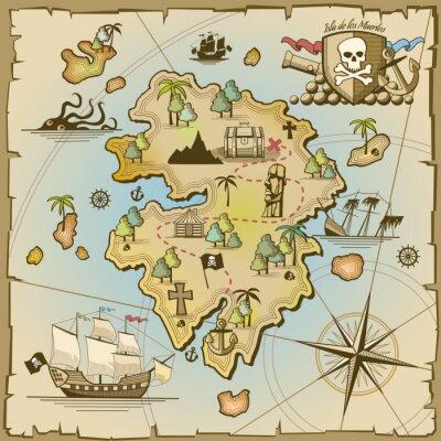 Фотообои Пиратский остров сокровищ векторная карта