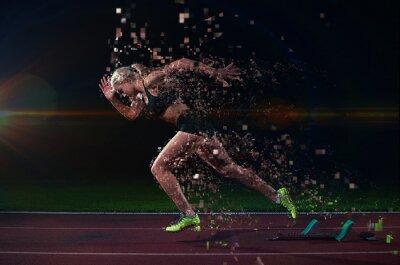 Фотообои неровной дизайн женщина спринтер оставляя запуск блоков