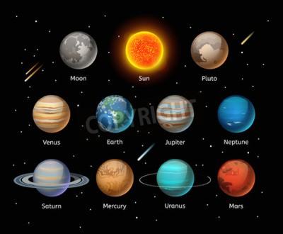 Фотообои Планетами красочные вектор набор на темном фоне, векторный набор Planet. Planet Иконки 3D инфографики элементы. Планеты силуэт коллекции. Планеты иллюстрации вектор 3d иконки