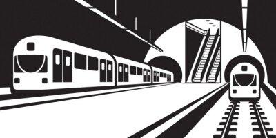 Фотообои Платформа станции метро с поездами - векторные иллюстрации