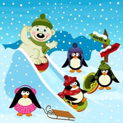 Фотообои белый медведь и пингвин на ледяной горкой - векторные иллюстрации, EPS