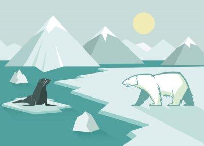 Фотообои Белый медведь и печать - плоская конструкция