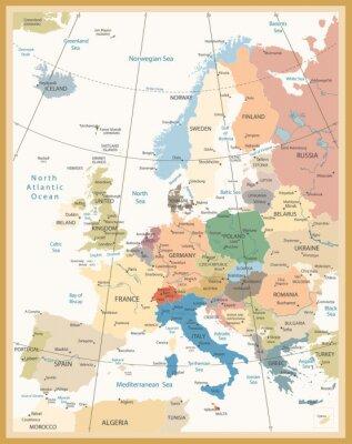 Фотообои Политическая карта Европы ретро цвета