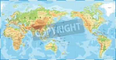 Фотообои Политическая физическая топографическая карта мира Тихого океана в центре вектор значок.