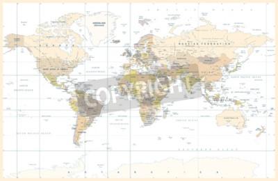 Фотообои Политическая физическая топографическая карта с разноцветными картами