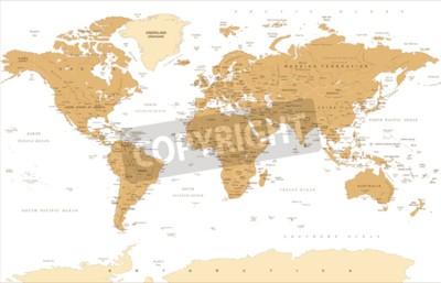 Фотообои Политические старинные золотые карты мира векторные иллюстрации.
