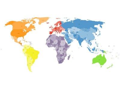 Фотообои Политическая карта мира на белом фоне.