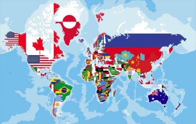 Фотообои Политическая карта мира с флагами страны.