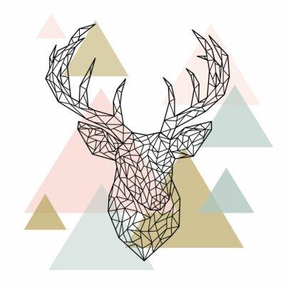 Фотообои Полигональный портрет головного оленя. Скандинавский стиль. Векторные иллюстрации.