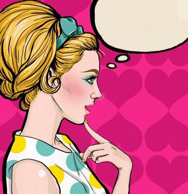 Фотообои Поп-арт блондинка в профиль с речи пузырь.