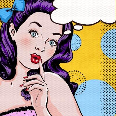 Фотообои Pop Art illustration of girl with speech bubble.