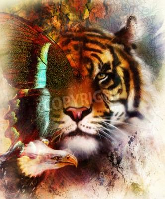 Фотообои портрет тигра с орлом и крыльями бабочки .. цвет Абстрактный фон и орнамент, старинные структуры. концепция животных