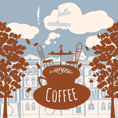 Фотообои Открытка привет осень, кафе, дом, осенние листья, вектор, баннер, иллюстрации