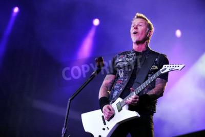Фотообои ПРАГА, ЧЕШСКАЯ РЕСПУБЛИКА - 7 МАЯ 2012: Певец и гитарист Джеймс Хетфилд из Metallica Во время выступления в Праге, Чехия, 7 мая 2012 года.