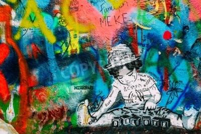 Фотообои Прага, Чехия - 10 октября 2014 года: известное место в Праге - стена Джона Леннона. Стена наполнена Джон Ленноном вдохновила граффити и тексты песен Beatles