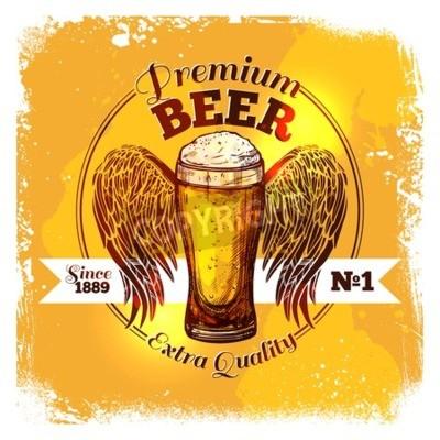 Фотообои Премиум качество этикетки пива с эскизного стаканом напитка с орнаментом вектор