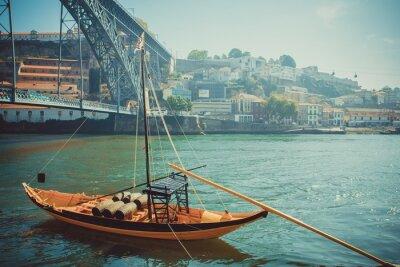 Фотообои Rabelo лодка, традиционный портвейн транспорт на реке Дору.