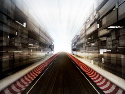 Фотообои ипподром в стеклянной Бизнес фоне города