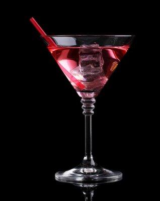 Фотообои Красный коктейль в бокале для мартини, изолированных на черном