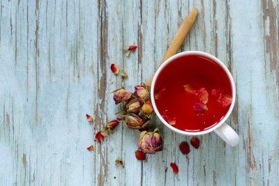 Фотообои красный цветок чай из лепестков роз