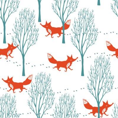 Фотообои Красные лисы в зимнем фоне леса