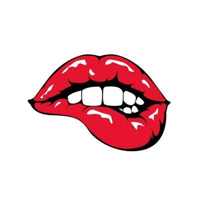 Фотообои Красные губы кусаться значок на белом фоне.