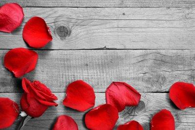 Фотообои Красные розы и лепестки на черно-белом фоне деревянные