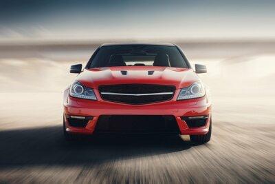 Фотообои Красный спортивный автомобиль быстрый привод Скорость на асфальтированной дороге