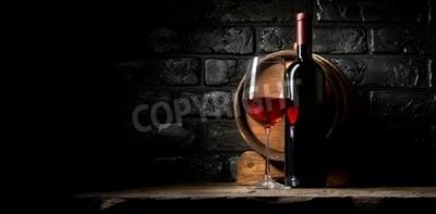 Фотообои Красное вино на фоне старых черных кирпичей