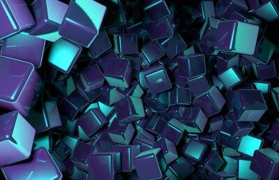 Фотообои ОКАЗАНЫ 3D Кубики хаотически распределенных в пространстве, темно-синий кубы