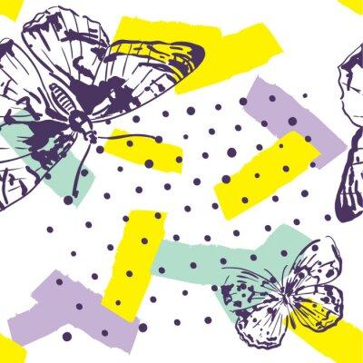 Фотообои Повторный рисунок с насекомыми. Модный узор с бабочками в стиле ручной работы. Фон для текстиля, изготовления, обложки книг, обои, печать или подарочная упаковка.