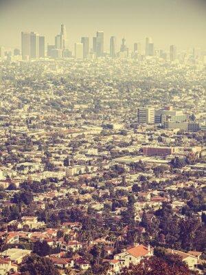 Фотообои Ретро стилизованный с высоты птичьего полета из Лос-Анджелеса видели через смога, США