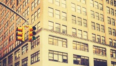 Фотообои Ретро стилизованные фото светофоров в Нью-Йорке, малой глубиной резкости.