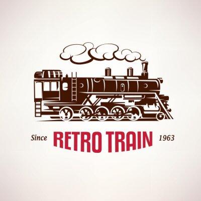 Фотообои ретро поезд, марочные символ вектор, эмблема, шаблон этикетки