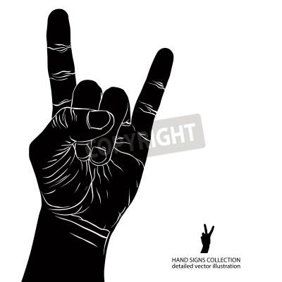 Фотообои Рок на знак рукой, рок-н-ролл, хард-рок, хэви-метал, музыка, подробную черный и белый векторные иллюстрации.