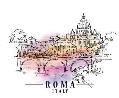 Фотообои Розовый эскиз. Иллюстрация итальянского капитала.