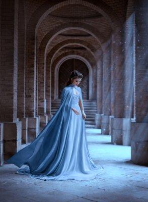 Фотообои Sad Snow Queen walks in old castle. blue silk long raincoat train flying motion. Elven hairstyle cute face. Vintage fantasy art retro style. Frozen Fabulous woman photo shoot. sun magic shine rays