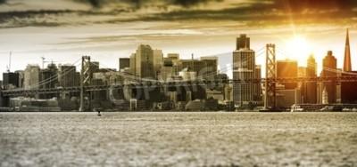 Фотообои Сан-Франциско Закат Панорама с мостом Окленд Бэй. Соединенные Штаты.